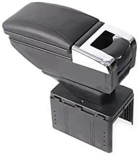 AutoBizarre Universal Stylish Black Armrest in Chrome Design with Ash tray, Cup holder and Storage Space Car Armrest