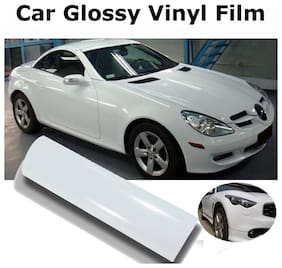 AutoBizarre 24x24 inch Glossy White Vinyl Car Wrap Sheet Roll Film Sticker Decal For Car & Bike Both
