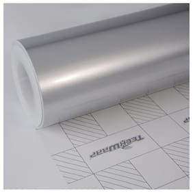 AutoBizarre 24x24 inch Metallic Silver Vinyl Car Wrap Sheet Roll Film Sticker Decal For Car & Bike Both