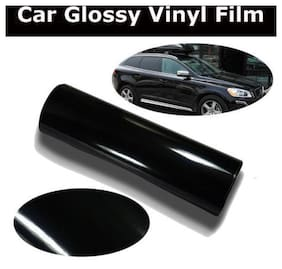 AutoBizarre 24x100 inch Glossy Black Vinyl Car Wrap Sheet Roll Film Sticker Decal For Car & Bike Both