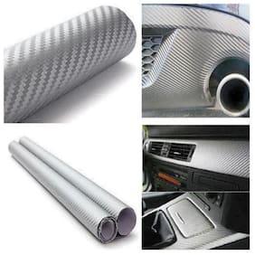 AutoBizarre 24x50 Inches 3D Silver Carbon Fiber Vinyl Car Wrap Sheet Roll Film Sticker Decal For Car & Bike Both