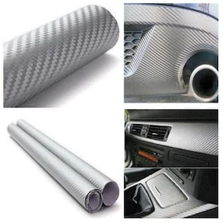 AutoBizarre 24x50 inch 3D Silver Carbon Fiber Vinyl Car Wrap Sheet Roll Film Sticker Decal For Car & Bike Both