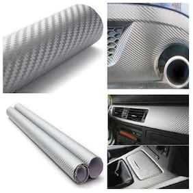 AutoBizarre 24x200 inch 3D Silver Carbon Fiber Vinyl Car Wrap Sheet Roll Film Sticker Decal For Car & Bike Both
