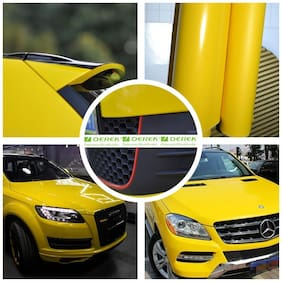 AutoBizarre 12x24 inch Glossy Yellow Vinyl Car Wrap Sheet Roll Film Sticker Decal For Car & Bike Both