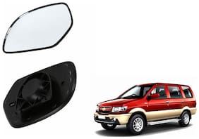 Autofetch Car Rear View Side Mirror Glass RIGHT for Chevrolet Tavera Black