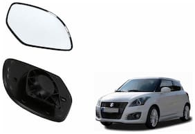 Autofetch Car Rear View Side Mirror Glass LEFT for Maruti Swift (2011-2014) Black