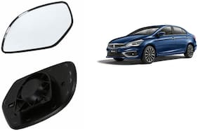 Autofetch Car Rear View Side Mirror Glass RIGHT for Maruti Ciaz Type 2 Black