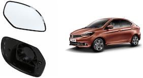 Autofetch Car Rear View Side Mirror Glass LEFT for Tata Tigor Black