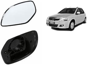 Autofetch Car Rear View Side Mirror Glass RIGHT for Mahindra Verito Type 1 Black
