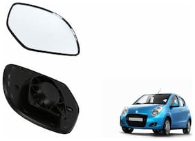 Autofetch Car Rear View Side Mirror Glass LEFT for Maruti Astar Black
