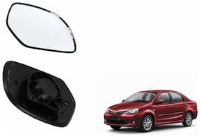 Autofetch Car Rear View Side Mirror Glass LEFT for Toyota Etios Type 2 Black