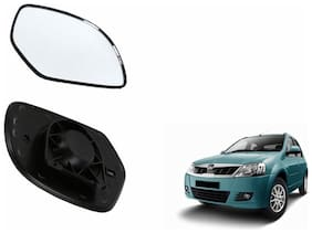 Autofetch Car Rear View Side Mirror Glass RIGHT for Mahindra Logan Type 2 Black