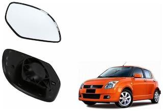 Autofetch Car Rear View Side Mirror Glass LEFT for Maruti Swift (2007-2009) Black
