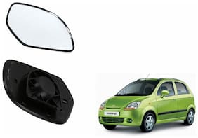Autofetch Car Rear View Side Mirror Glass RIGHT for Chevrolet Spark Type 1 (2008-2013) Black