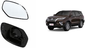 Autofetch Car Rear View Side Mirror Glass RIGHT for Toyota Fortuner Type 1 Black