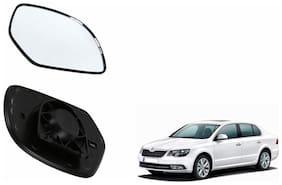 Autofetch Car Rear View Side Mirror Glass LEFT for Skoda Superb Type 2 (2012-2015) Black