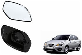 Autofetch Car Rear View Side Mirror Glass LEFT for Hyundai Verna Type 2 (2009-2013) Black