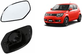 Autofetch Car Rear View Side Mirror Glass LEFT for Maruti Ignis Black