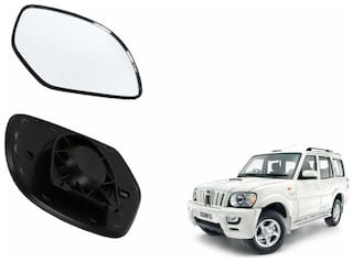 Autofetch Car Rear View Side Mirror Glass RIGHT for Mahindra Scorpio Type 2 (2008-2014) Black