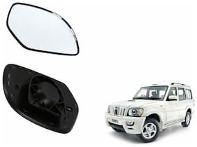 Autofetch Car Rear View Side Mirror Glass LEFT for Mahindra Scorpio Type 2 (2008-2014) Black