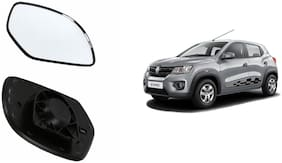 Autofetch Car Rear View Side Mirror Glass LEFT for Renault Kwid Black