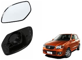 Autofetch Car Rear View Side Mirror Glass RIGHT for Maruti Alto K10 Type 1 (2012-2014) Black