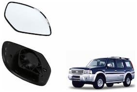 Autofetch Car Rear View Side Mirror Glass LEFT for Ford Endeavour Type 1 (2004-2007) Black