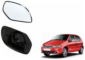 Autofetch Car Rear View Side Mirror Glass LEFT for Tata Indica Vista Black