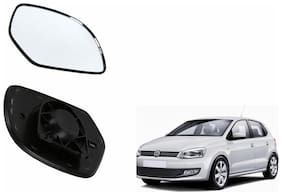 Autofetch Car Rear View Side Mirror Glass LEFT for Volkswagen Polo Type 1 (2010-2014) Black