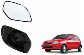 Autofetch Car Rear View Side Mirror Glass LEFT for Maruti Zen Old Black