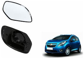Autofetch Car Rear View Side Mirror Glass RIGHT for Chevrolet Beat Type 1 (2009-2014) Black