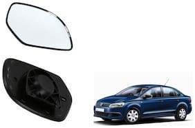 Autofetch Car Rear View Side Mirror Glass LEFT for Volkswagen Vento Type 1 (2010-2015) Black