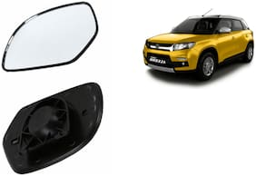 Autofetch Car Rear View Side Mirror Glass LEFT for Maruti Vitara Brezza Black