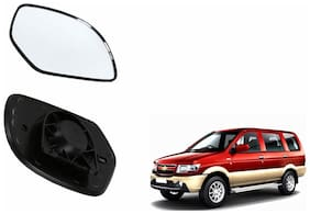Autofetch Car Rear View Side Mirror Glass LEFT for Chevrolet Tavera Black
