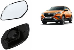 Autofetch Car Rear View Side Mirror Glass LEFT for Hyundai Creta Black