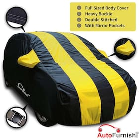 Autofurnish Stylish Yellow Stripe Car Body Cover For Volkswagen Cross Polo - Arc Blue