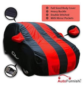 Autofurnish Stylish Red Stripe Car Body Cover For Tata Indigo CS - Arc Blue