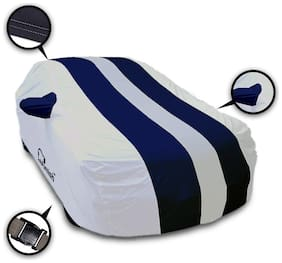 Autofurnish Stylish Blue Stripe Car Body Cover For Tata Indica Vista - Arc Blue