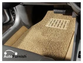 Autofurnish Anti Skid Curly Car Foot Mats (Beige) for Hyundai Xcent