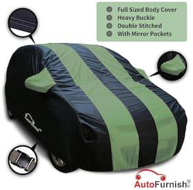 Autofurnish Stylish Green Stripe Car Body Cover For Tata Nano - Arc Blue