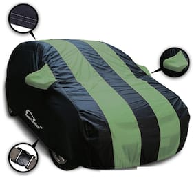 Autofurnish Stylish Green Stripe Car Body Cover For Skoda Fabia - Arc Blue