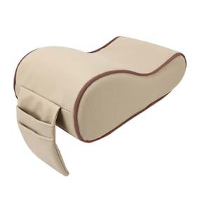 Autofurnish Premium Car PU Leather Memory Foam Center Console Armrest with Pocket (Beige;Brown)