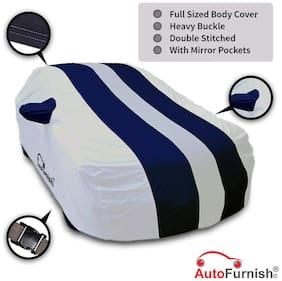 Autofurnish Stylish Blue Stripe Car Body Cover For Ford Figo - Arc Blue