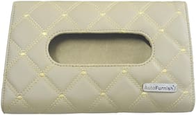 Autofurnish 7D Car Sun Visor Tissue Holder Box with Free Tissues - Beige