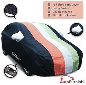 Autofurnish Stylish Freedom Tri Stripe Car Body Cover For Tata Manza - Arc Blue