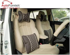 Autofurnish Combo of 7D Premium Car Pillow Neck Rest (Hecta-6843) & Back Cushion (Hecta-6853) - Each Set of Two - Coffee