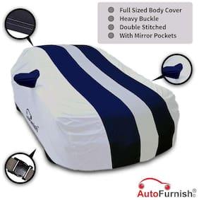 Autofurnish Stylish Blue Stripe Car Body Cover For Mahindra Nuvosport - Arc Blue