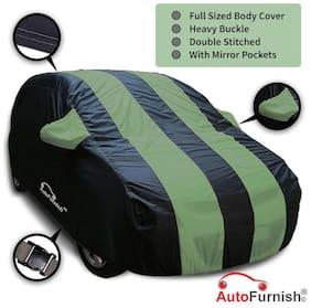 Autofurnish Stylish Green Stripe Car Body Cover For Ford Figo - Arc Blue