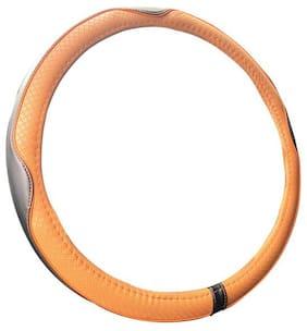 Autofurnish Premium Leatherite Car Steering Wheel Cover for Nissan Sunny (Black Tan)
