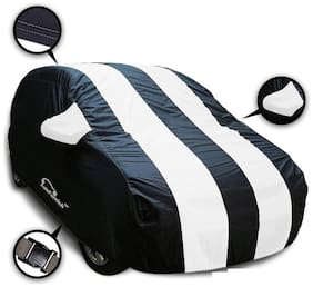 Autofurnish Stylish White Stripe Car Body Cover For Hyundai Grand i10 - Arc Blue